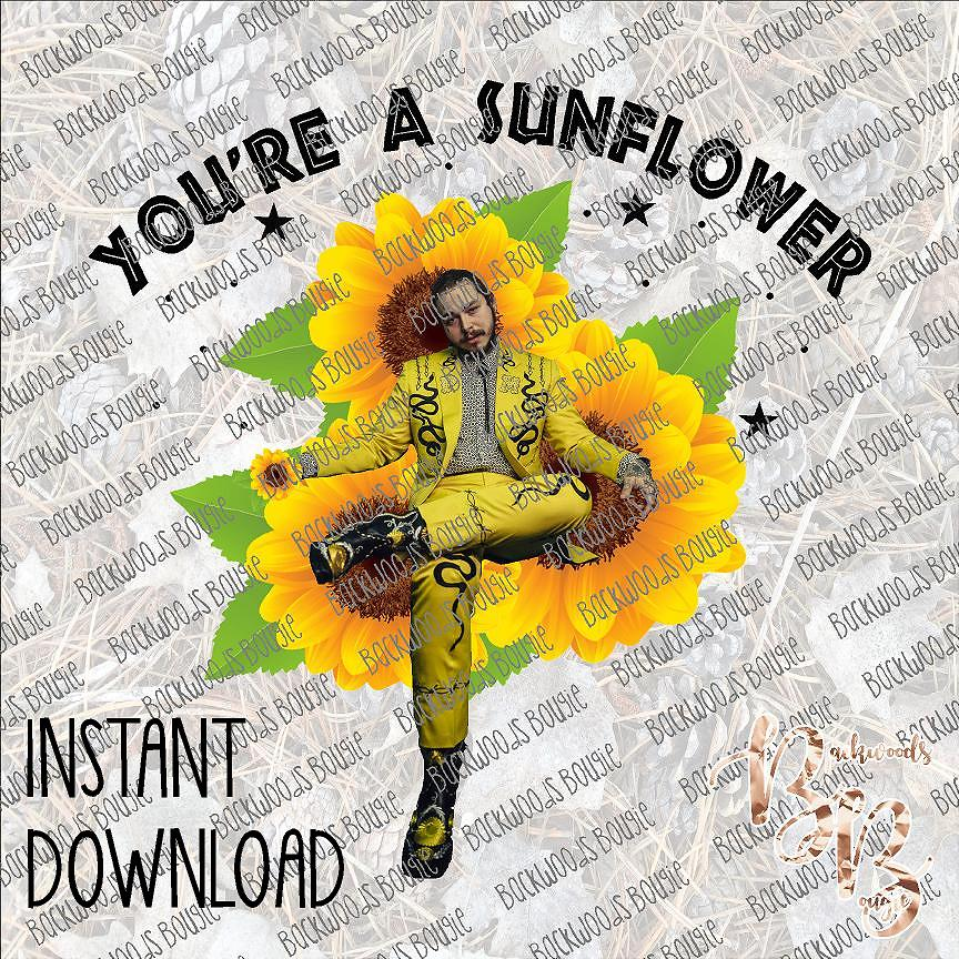 You Re A Sunflower Post Malone Instant Download Print File Png Backwoods Bougie Digital Print Shop And Design Studio