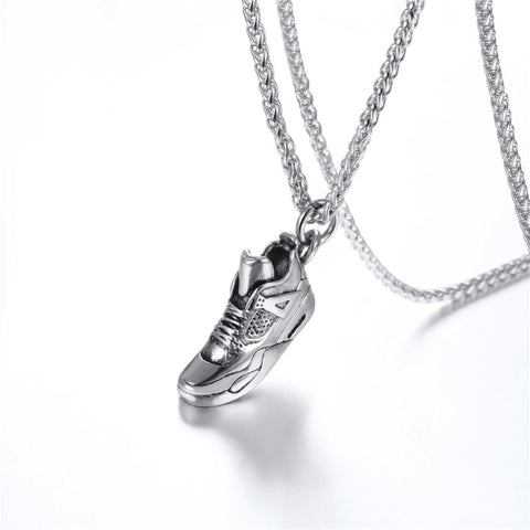 silver sneaker pendant with chain