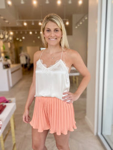 Pleated Shorts- Cantaloupe