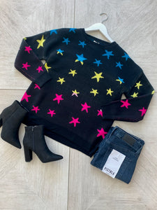 Ombre Star Sweater - Black