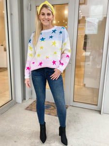 Ombre Star Sweater - White