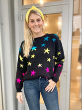 Load image into Gallery viewer, Ombre Star Sweater - Black