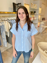 Load image into Gallery viewer, Gingham Button Down- Blue