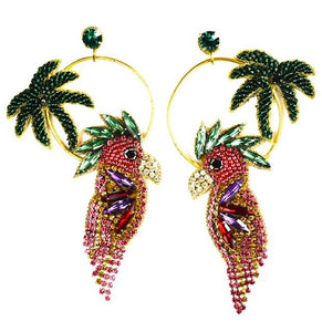 Palm and Rooster Earring