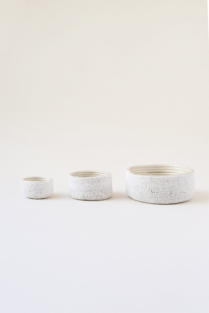 Indego Africa - White Beaded Dish Set