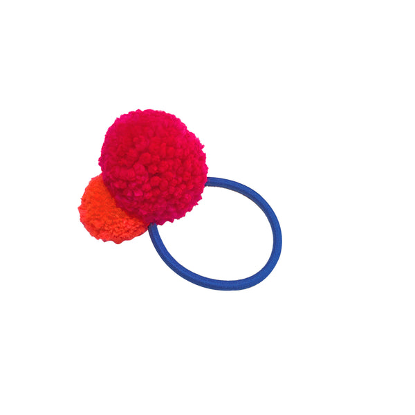 Pom Pom Hair Tie - Blue Band