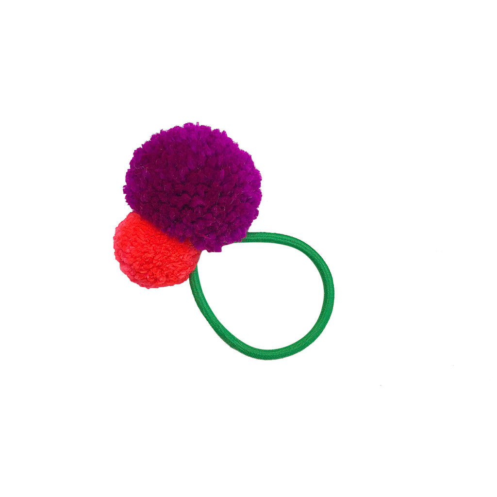 Pom Pom Hair Tie - Green Band