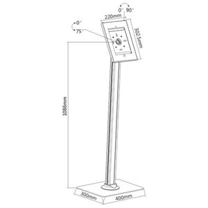 BRATECK Universal IPad 2/3/4/Air. Anti-Theft Floor Stand.