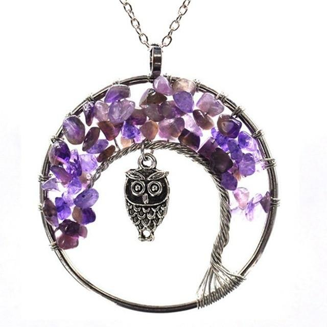 Healing Crystal Necklace: Natural Stone Tree of Life Pendulum Pendant - Amethyst  Owl