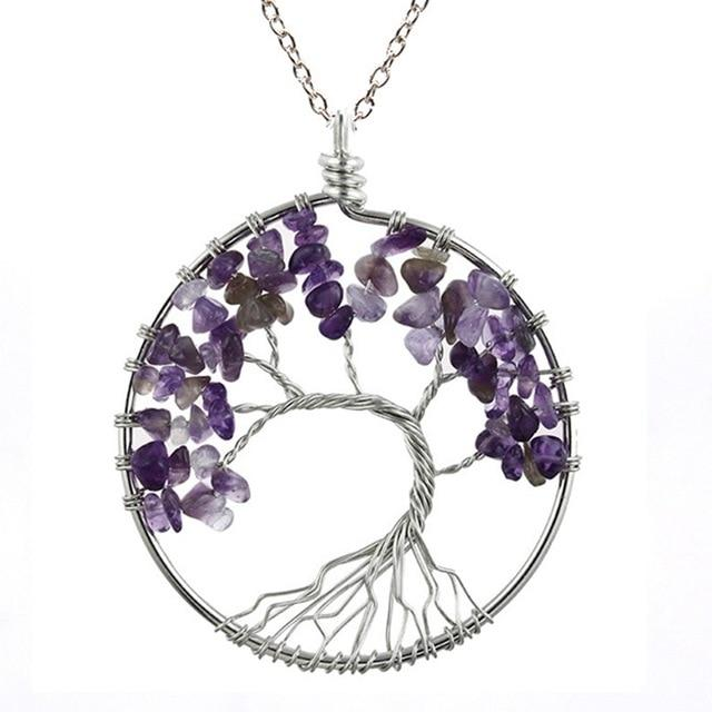 Healing Crystal Necklace: Natural Stone Tree of Life Pendulum Pendant - Amethyst
