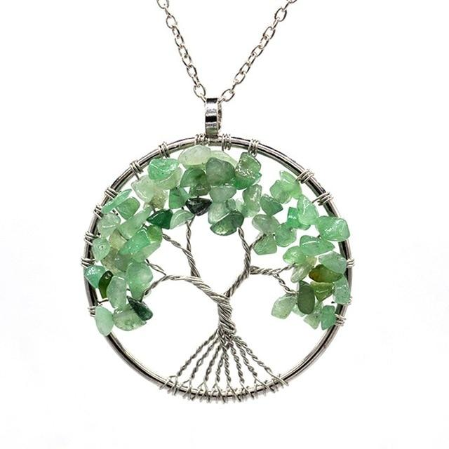 Healing Crystal Necklace: Natural Stone Tree of Life Pendulum Pendant  - Green Aventurine