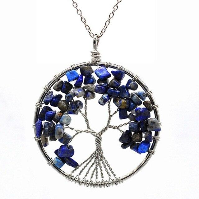 Healing Crystal Necklace: Natural Stone Tree of Life Pendulum Pendant, Metal color - Lapis Lazuli