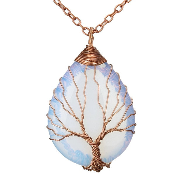 Opal Handmade Tree of Life Crystal Pendant Necklace - Antique Copper Plated