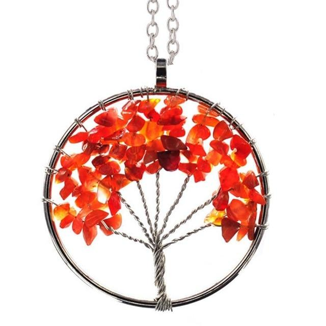 Healing Crystal Necklace: Natural Stone Tree of Life Pendulum Pendant, Metal color - Red Agate