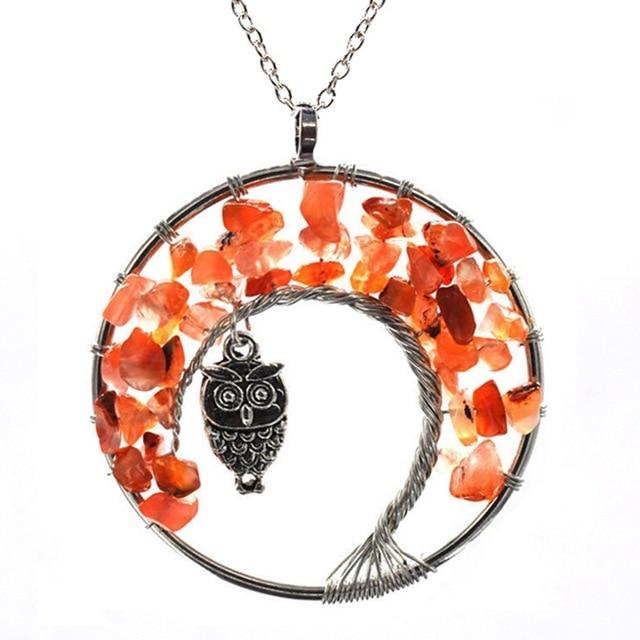 Healing Crystal Necklace: Natural Stone Tree of Life Pendulum Pendant, Metal color - Red Agate Owl