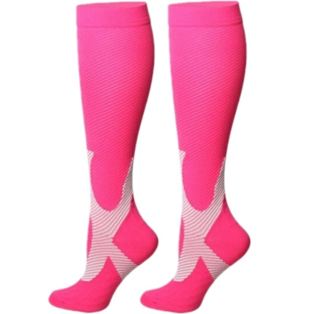 Women's Over the Calf Compression Socks - Hot Pink