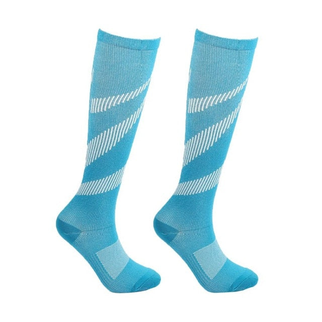 Women's Over the Calf Compression Socks - Light Blue - 20-30 mmHg