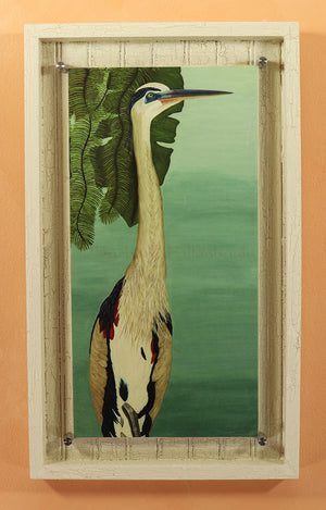 Pool-Side-Great-Blue-Heron-Hand-Embellished-Edition-#11/250