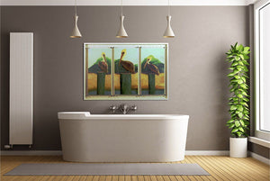 Blue Eyed Pelican Trio Triptych - Hand Embellished Giclee Painting - Barbara Fallenbaum - In situ