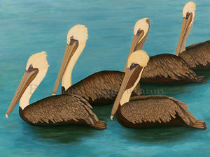 Brown Pelican Squadron - Original Oil Original Oils Barbara Fallenbaum
