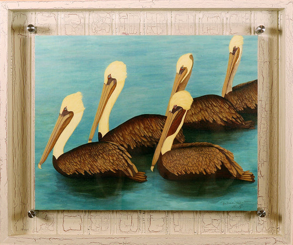 Brown Pelican Squadron - Hand Embellished Giclee Painting - Barbara Fallenbaum