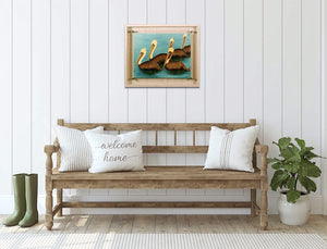 Brown Pelican Squadron - Hand Embellished Giclee Painting - Barbara Fallenbaum - In situ