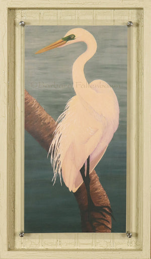 Hand Embellished Gilcee in Stand off frame of a Great Egret In Mating Plumage