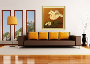 White Great Egret & Baby - Giclee Painting Giclee Paintings Barbara Fallenbaum