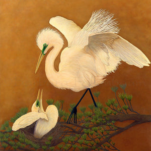 White Great Egret & Baby - Original Oil Original Oils Barbara Fallenbaum