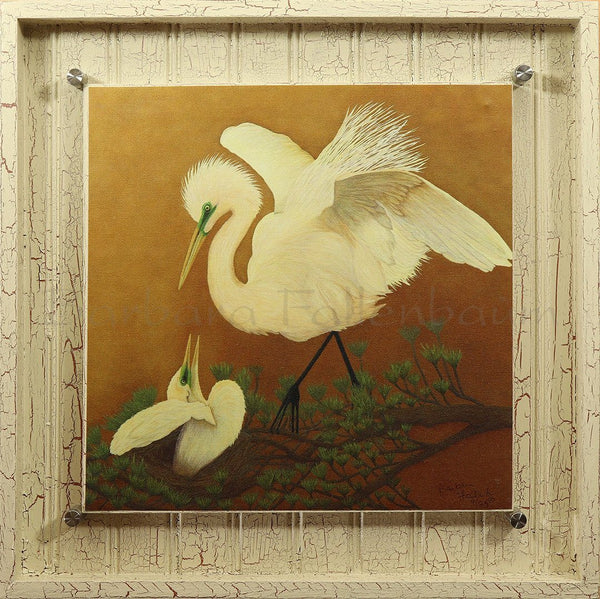 White Great Egret & Baby - Hand Embellished Giclee Painting - Barbara Fallenbaum