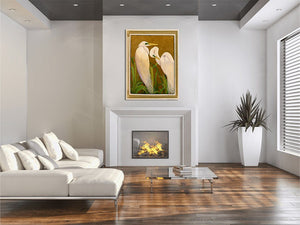 Mated White Great Egrets - Giclee Painting Giclee Paintings Barbara Fallenbaum