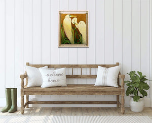 Mated Whited Great Egrets - Hand Embellished Giclee Painting - Barbara Fallenbaum - In situ