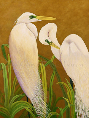 Mated White Great Egrets - Original Oil Original Oils Barbara Fallenbaum