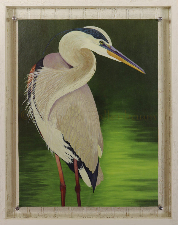 MoonLight Great Blue Heron - Hand Embellished Giclee Painting - grande #11/250 Signature Framed Giclee Barbara Fallenbaum