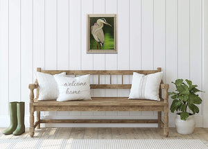 MoonLight Great Blue Heron - Hand Embellished Giclee Painting - Barbara Fallenbaum - In situ