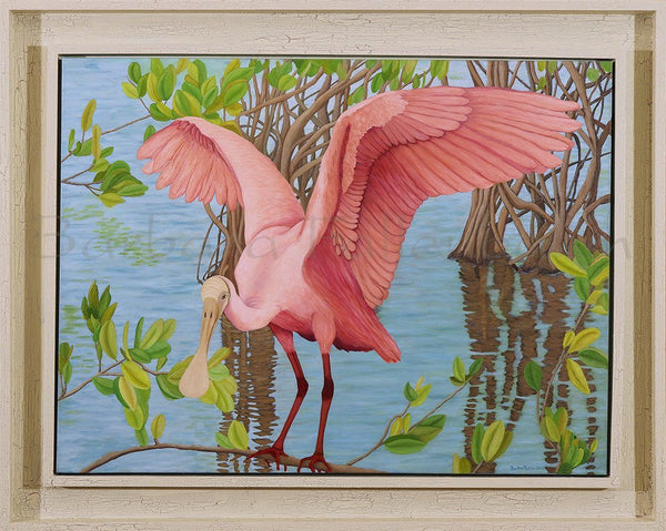 A Fledging Plays - Roseate Spoonbill - Original Oil Original Oils Barbara Fallenbaum