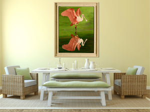 Roseate Spoonbill In Green - Giclee Painting Giclee Paintings Barbara Fallenbaum