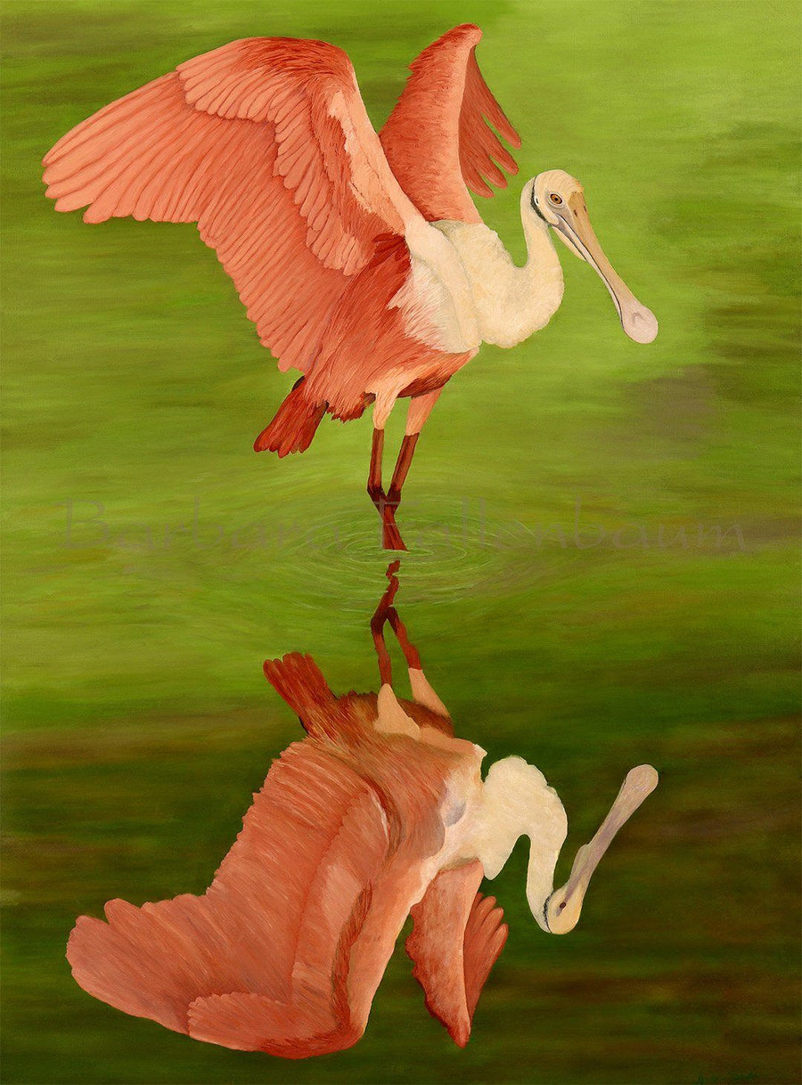 Roseate Spoonbill In Green - Original Oil Original Oils Barbara Fallenbaum
