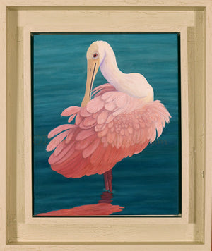 Original Oil Painting by Barbara Fallenbaum of a Roseate Spoonbill preening - framed