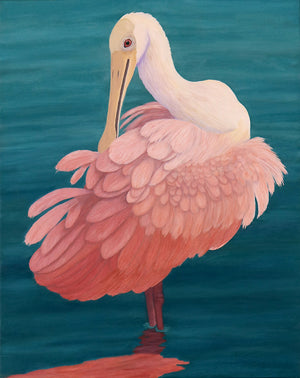 Original Oil Painting by Barbara Fallenbaum of a Roseate Spoonbill preening