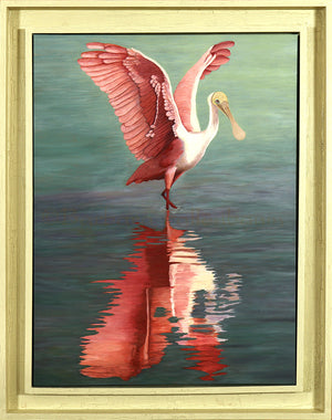 Barbara Fallenbaum's painting of a Roseate Spoonbill dancing framed