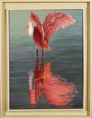 - Barbara Fallenbaum's painting of a Roseate Spoonbill dancing framed