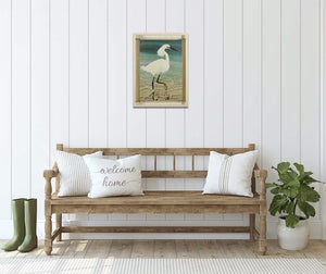 Sassy Snowy Egret - Hand Embellished Giclee Painting - Barbara Fallenbaum - In situ