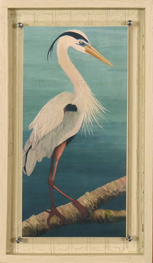 Hand Embellished Giclee in Stand Off mount frame of a Young Great Blue Heron in Mating Plumage