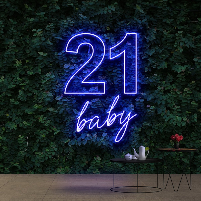 """21 Baby"" Birthday Neon Sign 60cm (2ft) / Blue / Cut to Shape by Neon Icons"