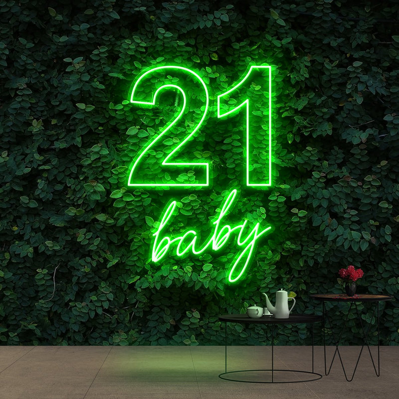 """21 Baby"" Birthday Neon Sign 60cm (2ft) / Green / Cut to Shape by Neon Icons"