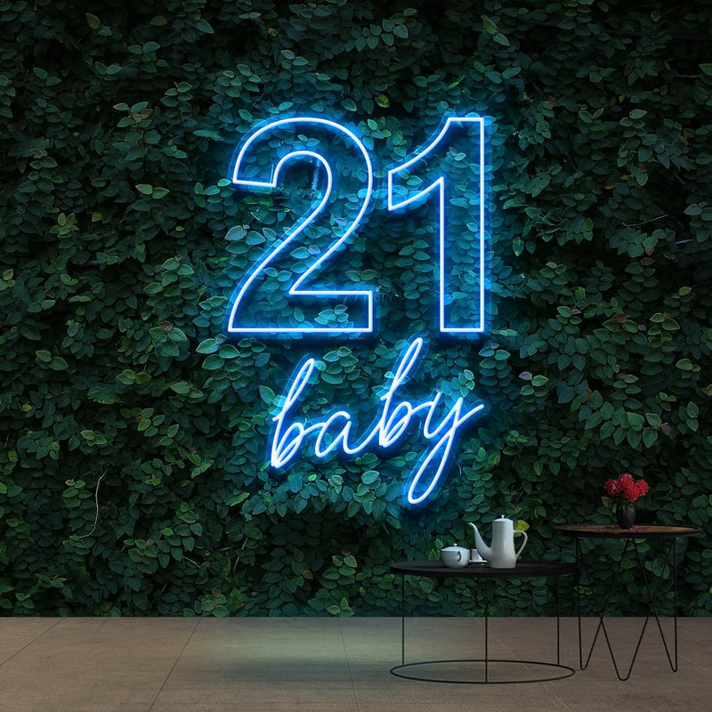 """21 Baby"" Birthday Neon Sign 60cm (2ft) / Ice Blue / Cut to Shape by Neon Icons"