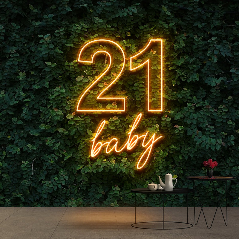 """21 Baby"" Birthday Neon Sign 60cm (2ft) / Orange / Cut to Shape by Neon Icons"