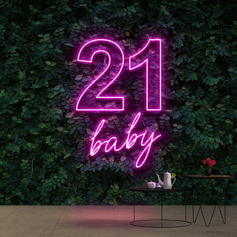 """21 Baby"" Birthday Neon Sign 60cm (2ft) / Pink / Cut to Shape by Neon Icons"
