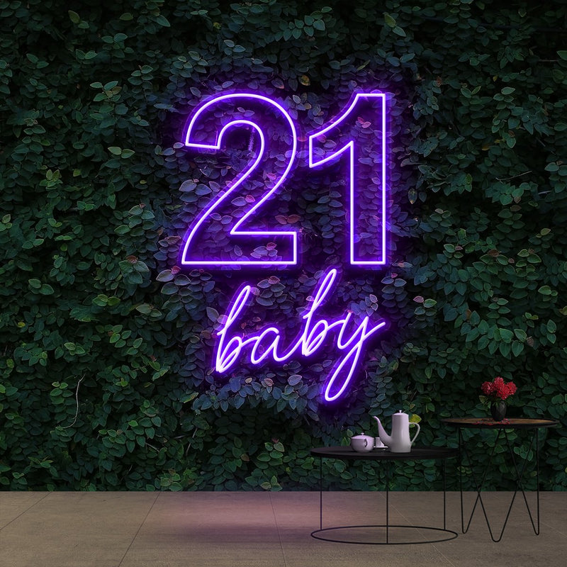 """21 Baby"" Birthday Neon Sign 60cm (2ft) / Purple / Cut to Shape by Neon Icons"